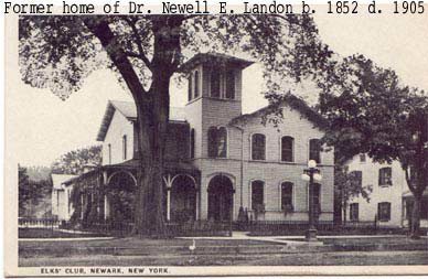 Postcard of Home of Dr. Newell E. Landon, later Elks Club